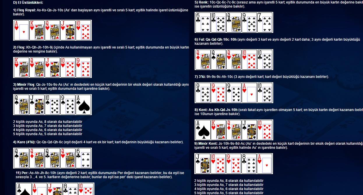 pokerde el üstünlüğü,pokerde hangi kart kazanır