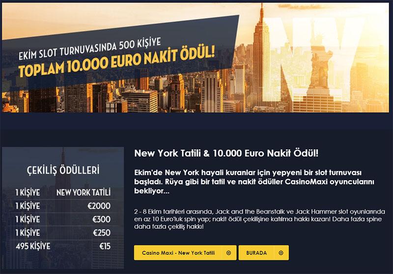 New York Tatili ve 10 Bin Euro Nakit Ödül Burada