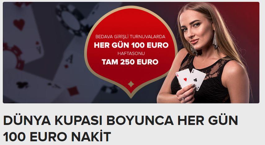 Dünya Kupası Boyunca Her Gün 100 Euro Pokerde